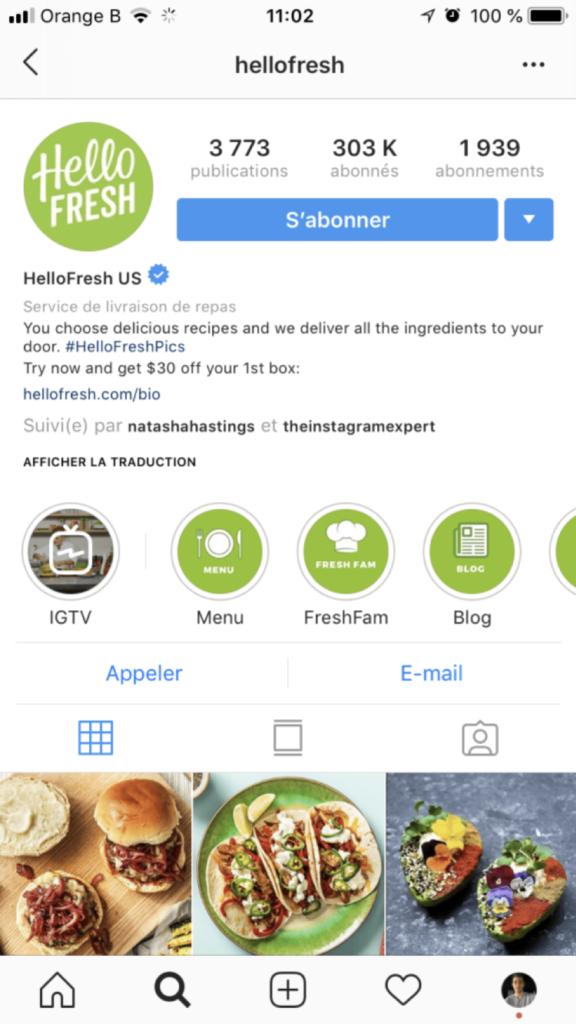bio - instagram - clics