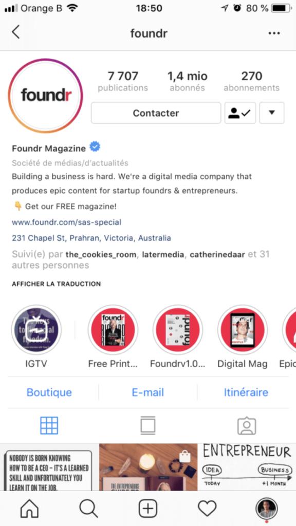 bio - instagram - entreprise