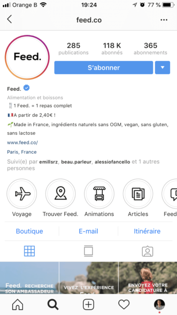 bio - instagram - notoriété
